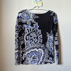 Black Blue & White Paisley Long Sleeve Top
